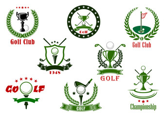 Golf club and tournament  sport icons