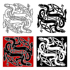 Celtic dragons pattern with tribal elements