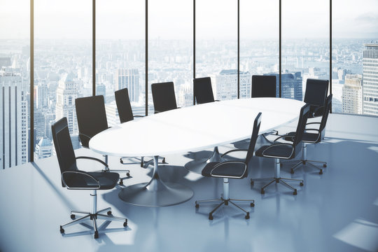 Conference table with chairs  in an office with city view