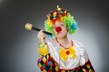 Clown with mic in funny concept Wall mural