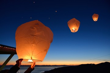 Make a wish, Paper Floating Lanterns release on Grouse Mountain
