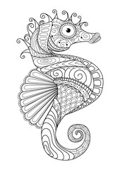 Hand drawn sea horse zentangle style for coloring page,t shirt design effect,logo tattoo and so on.