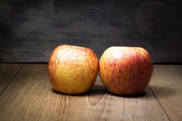 fruit still life on wooden board light painting