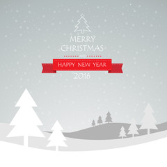 Christmas greeting card, and Happy new year message, Vector illu