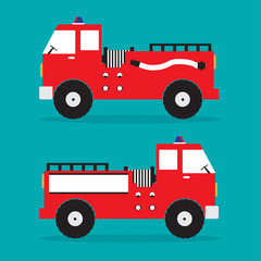 Red fire truck in flat design. Vector illustration