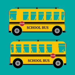 School bus yellow color on green background. Vector illustration