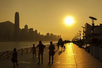 Victoria Harbor of Hong Kong under sunset