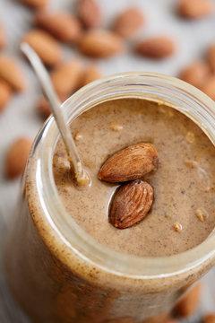 Almond Butter in Glass Jar