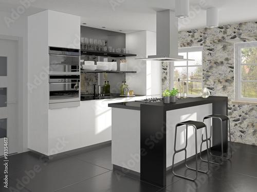 Kleine Küche Mit Kochinsel Und Theke