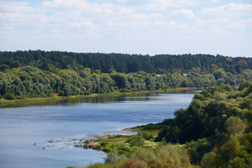 river Oka with the trees on the banks