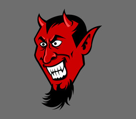 Vector illustration of devil head, vector stock for Halloween theme.