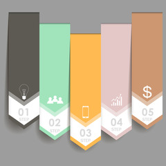 Colorful arrow number options banner. can be used for workflow layout, diagram, web design, infographics.