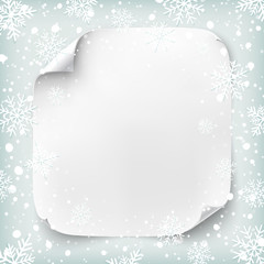 Realistic paper banner on winter background.