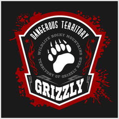 Grizzly Bear - military label, badges and design elements.