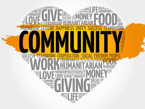 Community word cloud, heart concept