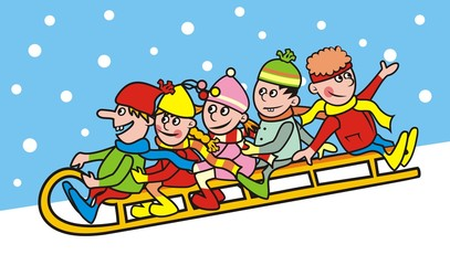 Group of children and sleigh, smile face. Vector illustration.