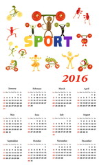 2016 Calendar. Sport.  Little funny people from vegetables and f