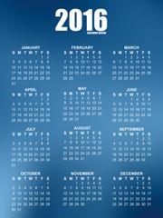 Calendar for 2016 on blurred background
