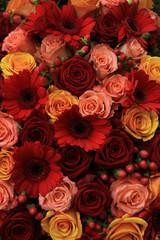 Mixed rose wedding flowers