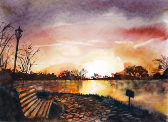 North Africa. Landscape with a sunset. Watercolor hand drawing illustration.