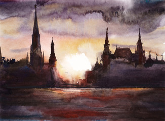 Moscow. Red square. Landscape with a sunset. Watercolor hand drawing illustration.