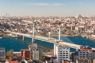 Aluminium Prints Turkey Aerial view of Istanbul with bridge across Golden Horn