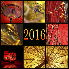 2016, Asia red and gold zen photo collage