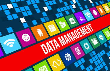 Data Management concept image with business icons and
