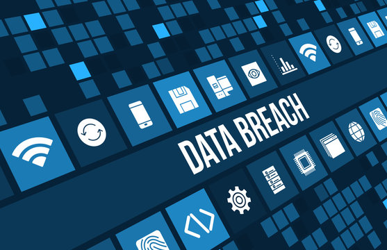 Data breach concept image with business icons and