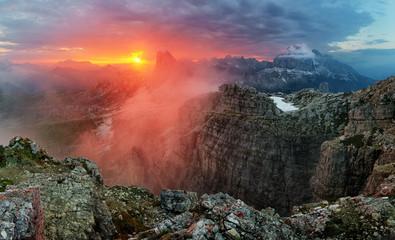 Dramatic beautiful sunset in mountain