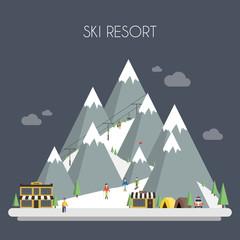 Ski Resort. Mountain landscapes. Vector flat