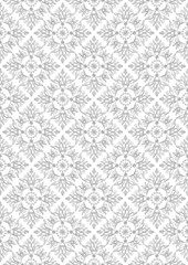 Gray embossed openwork floral pattern on a white seamless background
