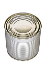 Hermetic steel can standing upright, no label, isolated on a white background
