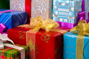 Close up view of the gifts box background