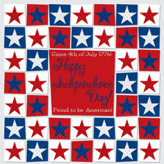 Mosaic funky Independence Day card in vector format.