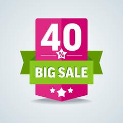 Big sale 40 percent badge with green ribbon. Vector illustration
