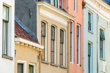 Colorful ancient houses in the Dutch town of Zutphen