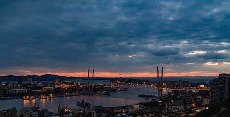 Vladivostok cityscape, sunset view.