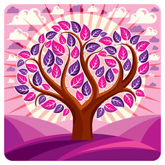 Art vector graphic illustration of stylized branchy tree, eco