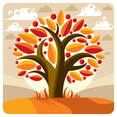 Fruity tree with ripe apples placed on stylized background. Orga
