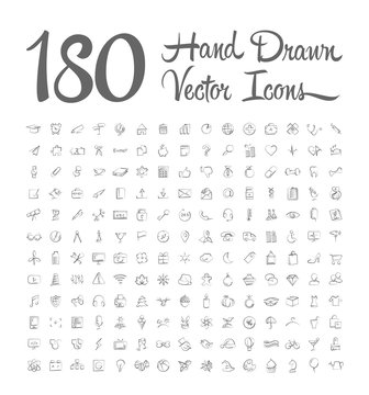 hand drawn vector icons on white background