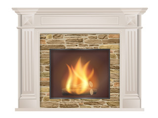 Classic fireplace: with pilasters and a furnace with raw stone inside. The element of the interior living room. Vector illustration.