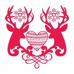Reindeer. Love, hearts, snow.