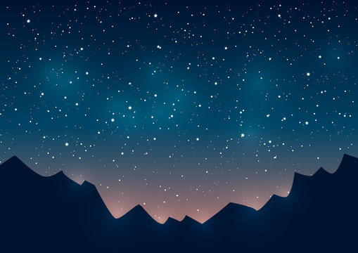 Mountains silhouettes on starry background