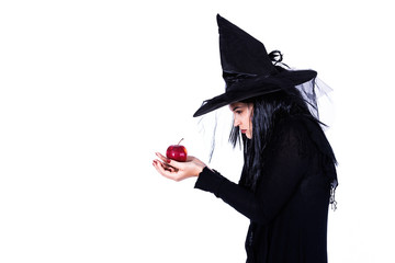 Beautiful Evil Witch With Red Apple