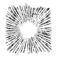 illustration vector hand drawn sketch of starburst isolated on white background, with grunge stamp design
