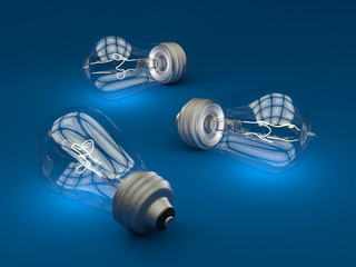Vintage light bulbs on dark blue background