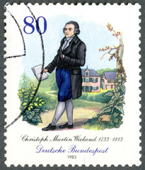 GERMANY - 1983: shows Christoph Martin Wieland (1733-1813), poet
