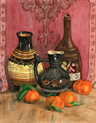 Watercolor still life with ceramic vases and mandarins.