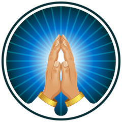 Praying hands vector icon.